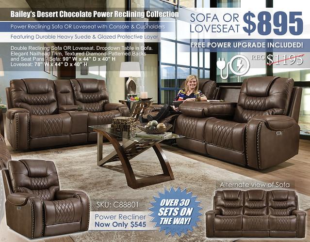 Baileys Desert Chocolate Power Reclining Sofa & Loveseat Set_88801_June2021