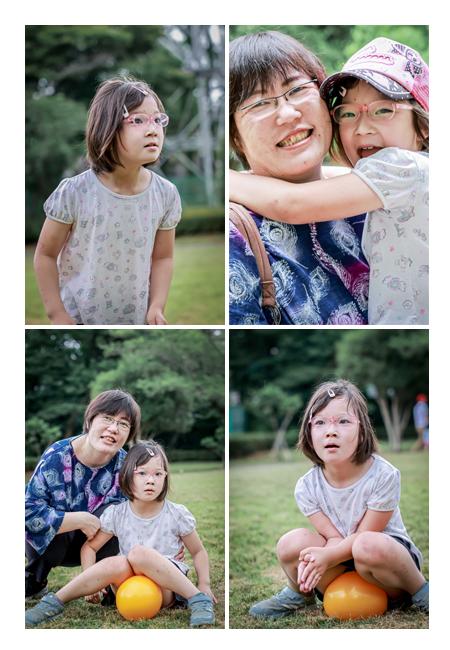 公園でファミリーフォト ママとのツーショット写真
