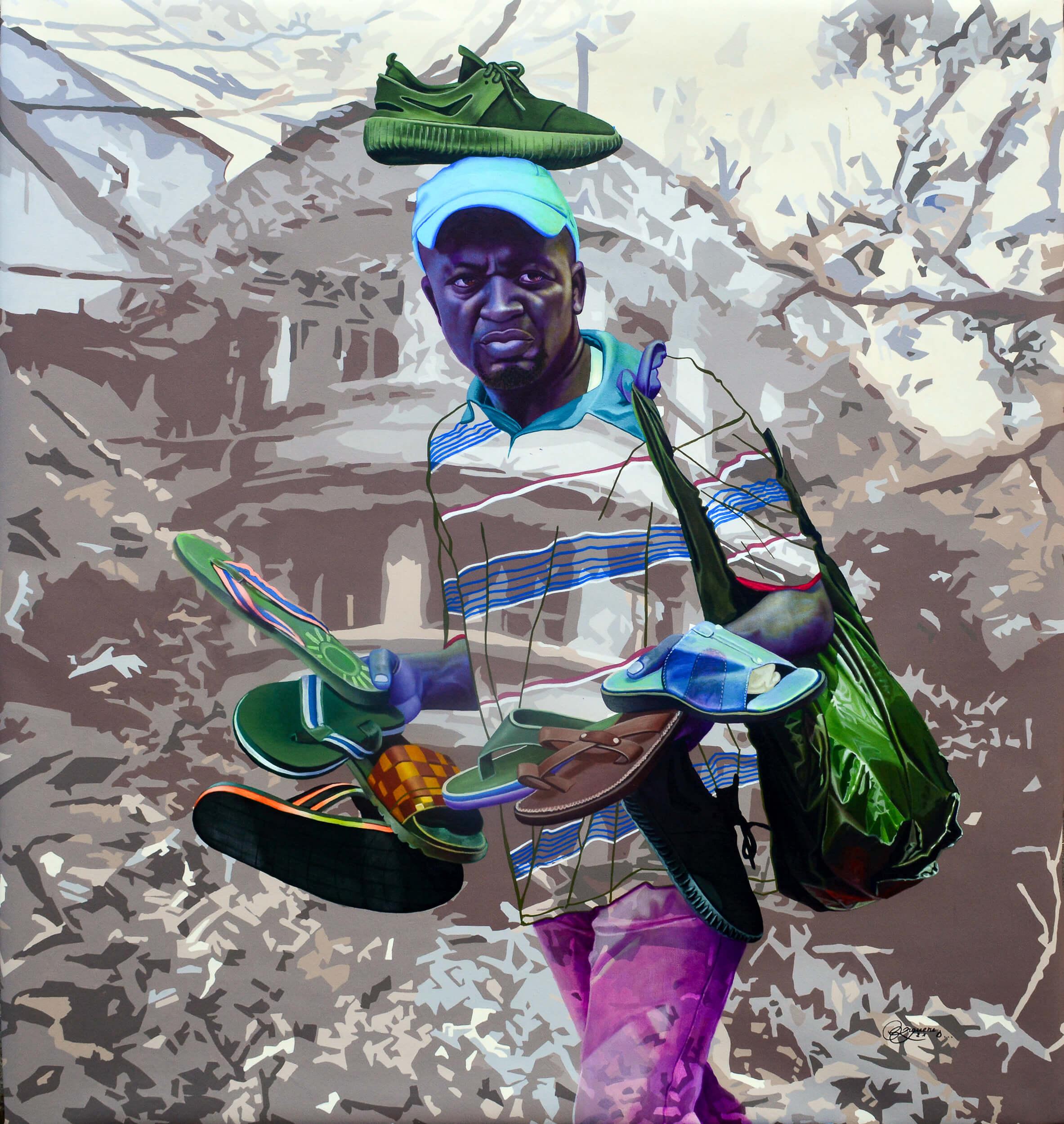 artsy-Daniel Onguene - The warrior - 2021 - 120cm H x 110cm W - Acrylic on canvas-2105