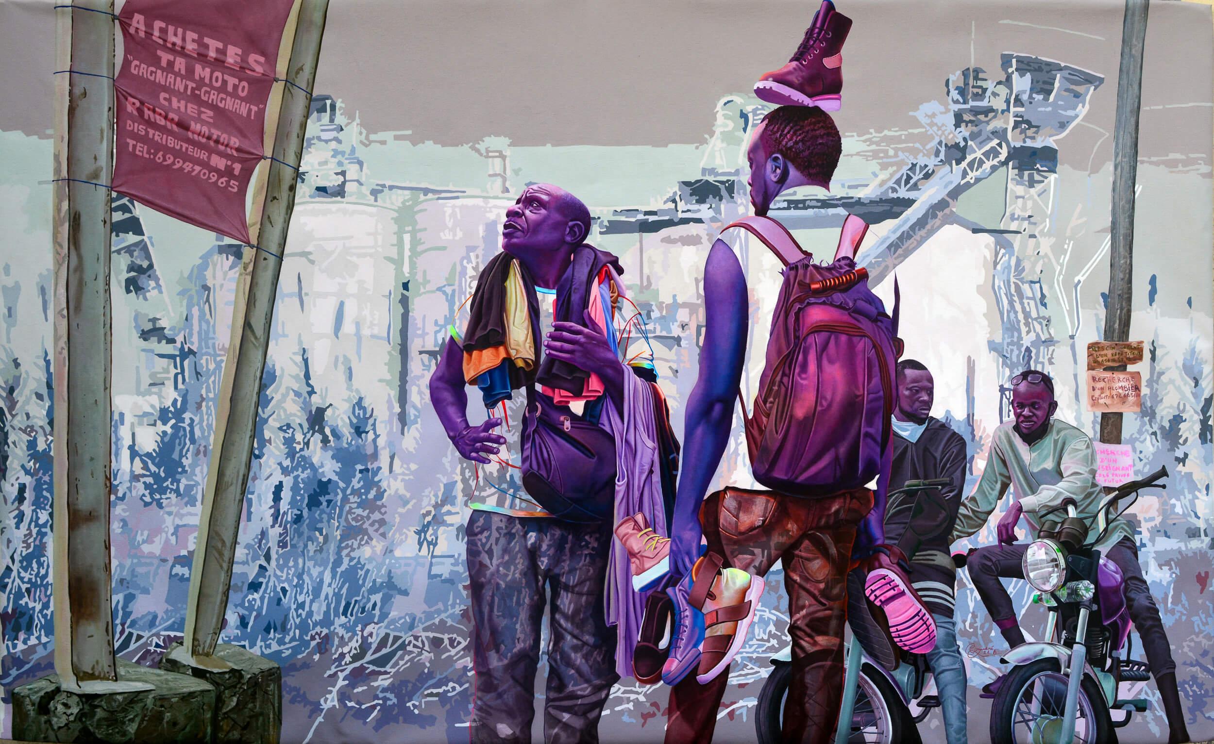 artsy-Daniel Onguene - L'annonce divine - 2021 - 120cm H x 200cm W - Acrylic on canvas -2105