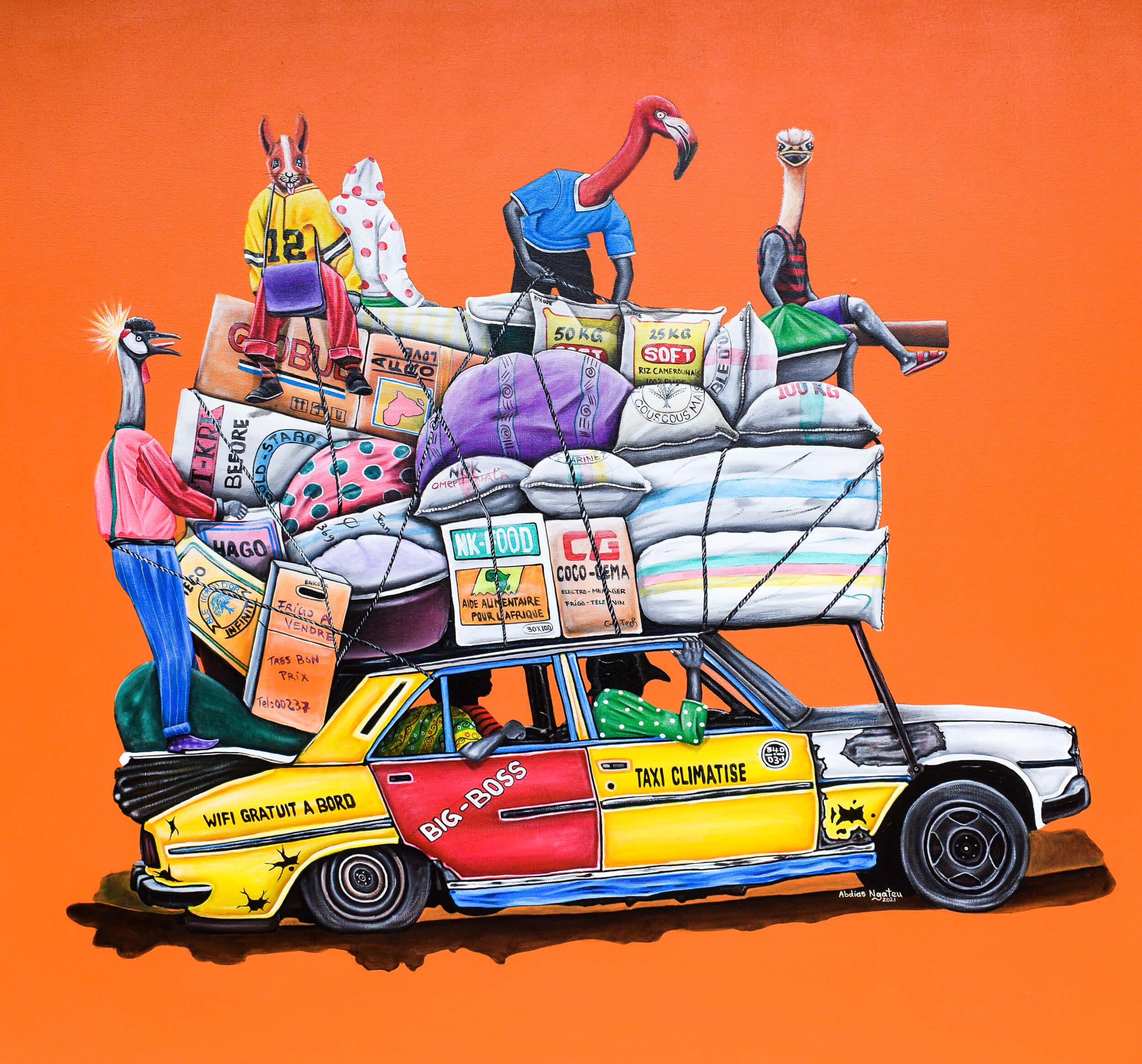 artsy-Abdias Ngateu - Taxi climatisé - 2021 - 120cm H x 130cm W - Acrylic on canvas - Courtesy by OOA Gallery-Modifier-2103