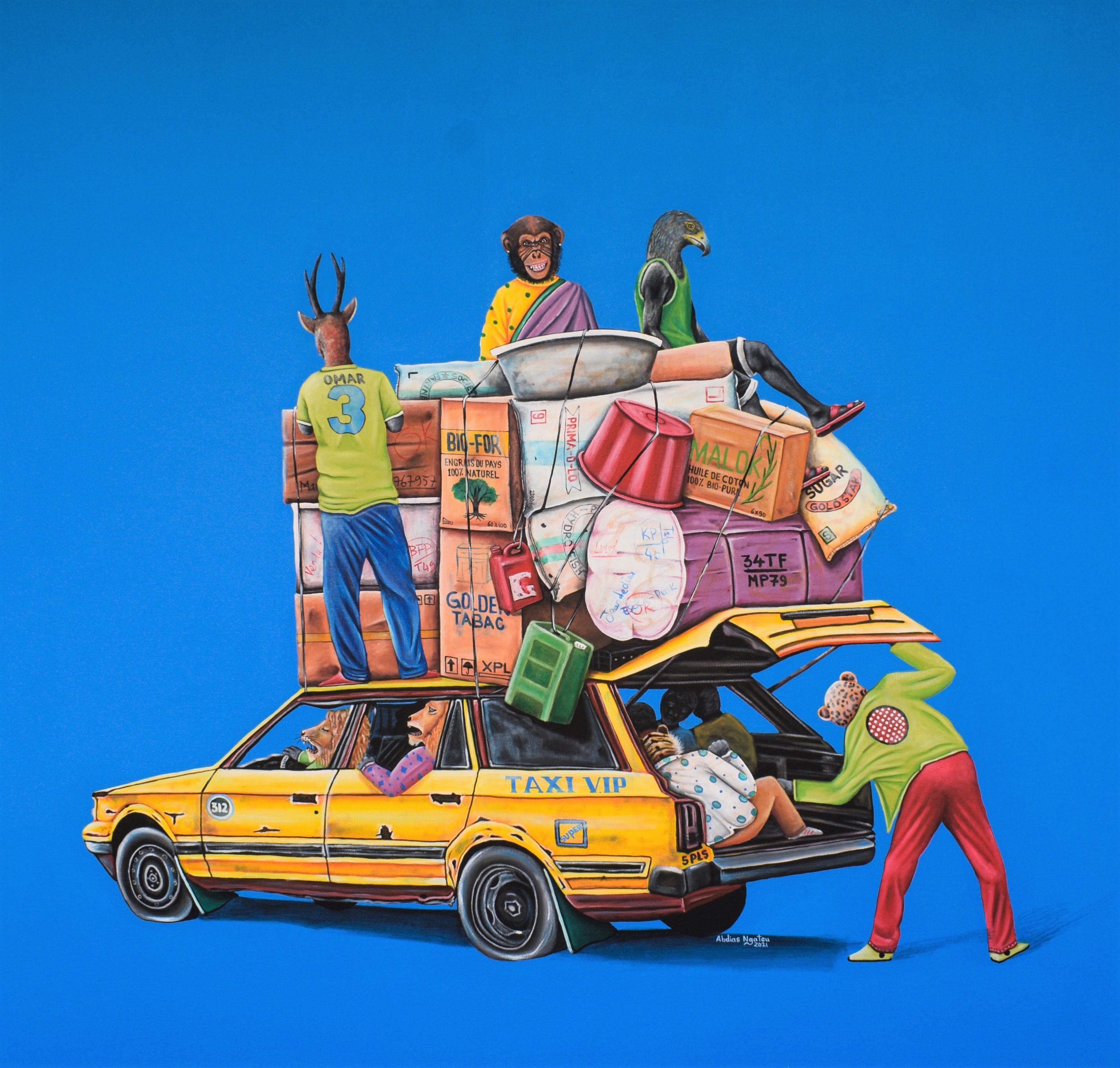 ABDIAS NGATEU_TAXI V.I.P_acryliques sur toile_150 x 140 cm_2021
