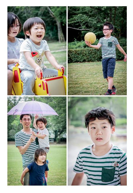 家族写真撮影会 梅雨の季節 傘の下でトトロ風写真