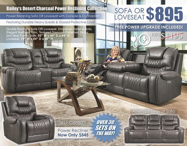 Baileys Charcoal Power Reclining Sofa & Loveseat Set_88803_June2021