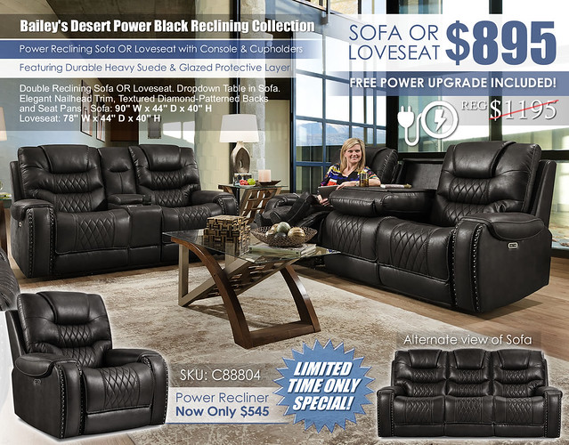 Baileys Desert Black Power Reclining Sofa & Loveseat Set_88804_June2021