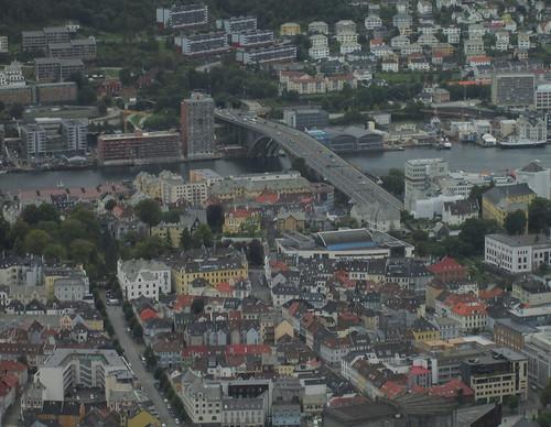 Bridge in Bergen from Mount Fløyen
