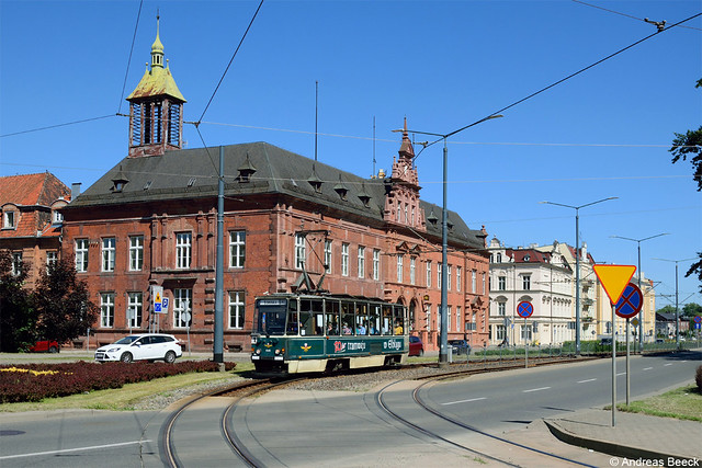 Elbląg (PL), 17.06.21, Konstal 805Na 048 auf Linie 1 nach Druska