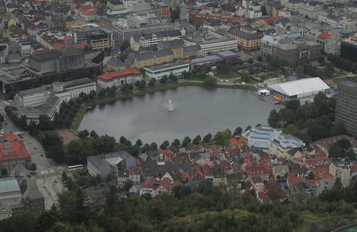 Lake with Fountain, Bergen from Mount Fløyen