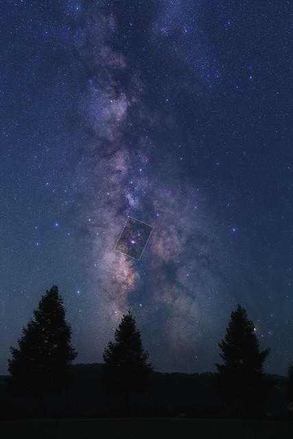 Milky Way with Lagoon Nebula and Trifid Nebula