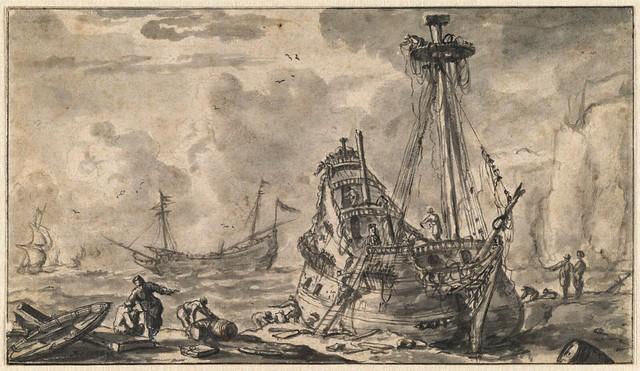 Ship on a Beach after a Storm
