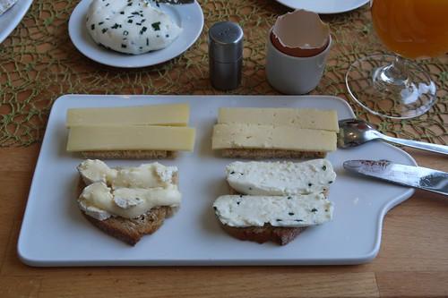 Nordseekäse, Tommes de Pays, Reblochon und Schaffrischkäsetaler auf Quark-Buttermilch-Brot