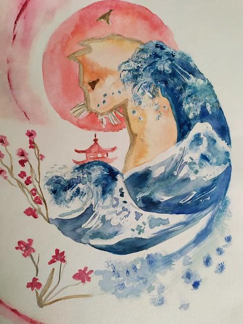 Le chat et la vague - aquarelle