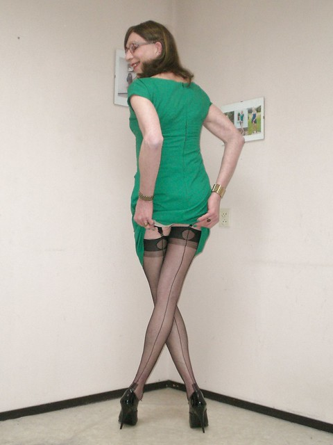 Fully fashioned seamed stockings.
