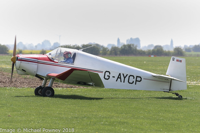 G-AYCP - 1952 SAN built Jodel D112, arriving at Fenland during the 2018 Bank Holiday Monday Fly-in