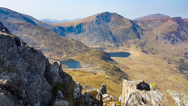 Looking out from Tryfan, Ogwen Valley, Snowdonia, Wales