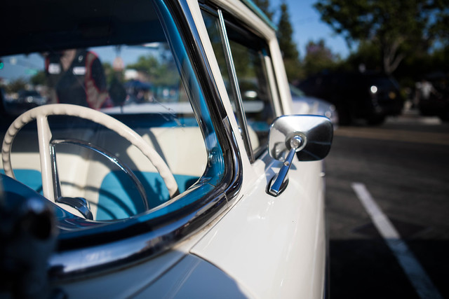 Steering Wheel and Wing Mirror on a Ford Fairlane