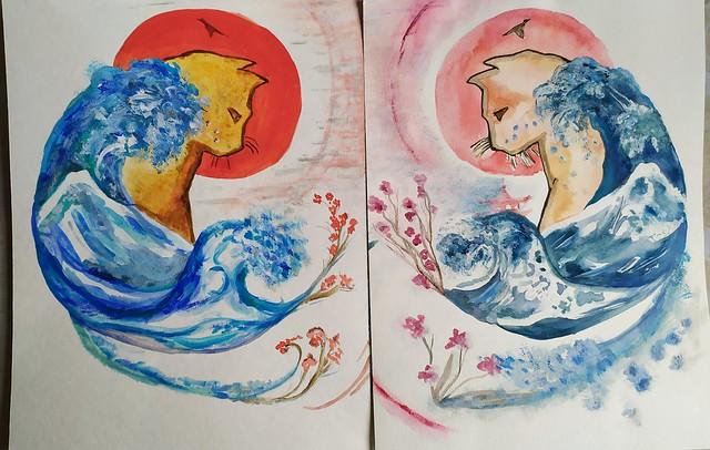 Acrylique et aquarelle