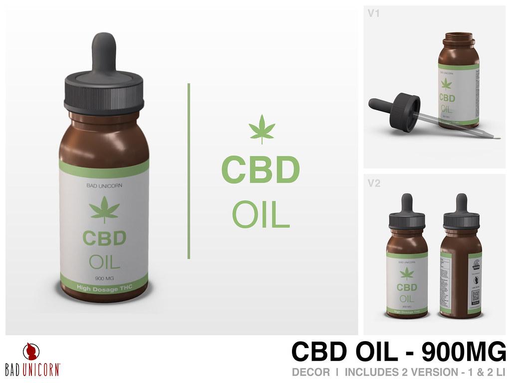 NEW! CBD Oil - 900MG @ Bad Unicorn Mainstore