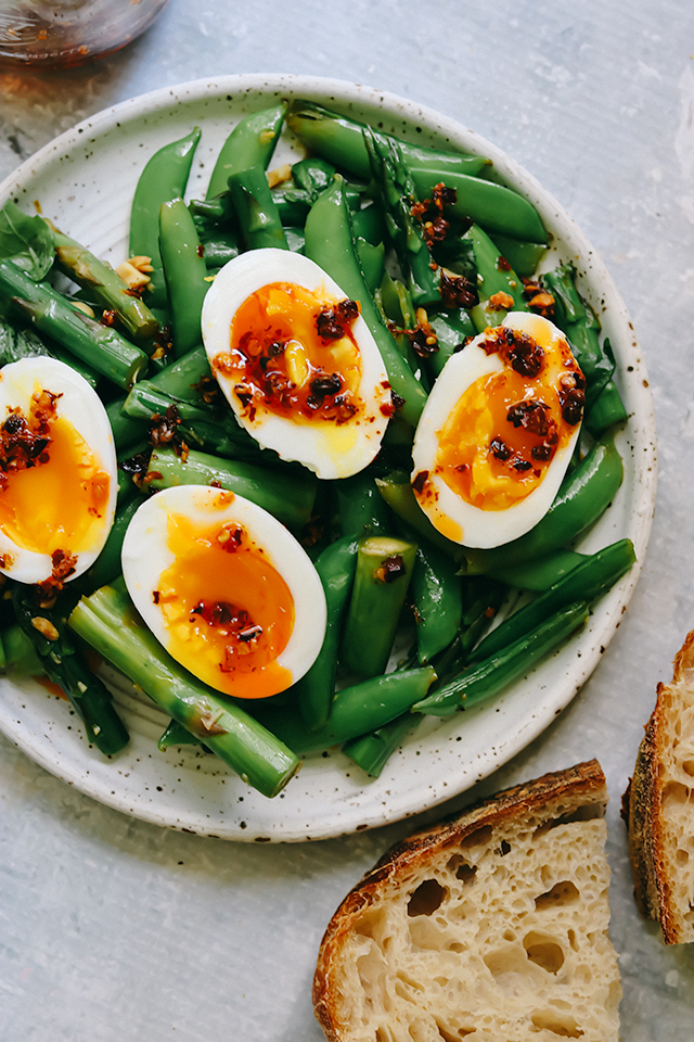 Soft-Boiled Eggs with Asparagus and Snap Peas with Peanuts and Basil