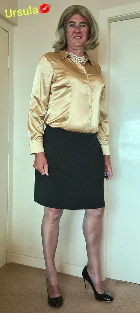 Bright yellow satin blouse
