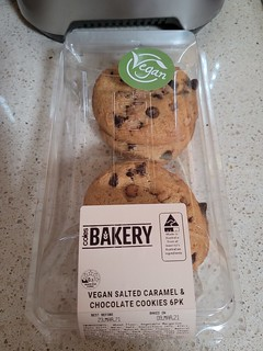 Coles Vegan Chocolate Chip and Salted Caramel Cookies
