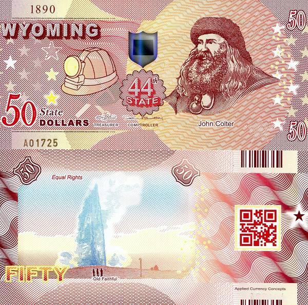 USA 50 Dollars 2015 44. štát - Wyoming polymer