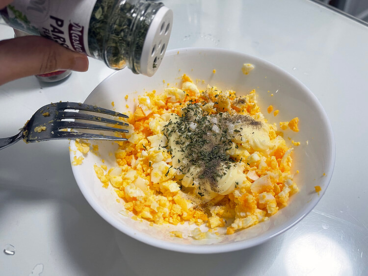 condensed milk and season with salt and pepper