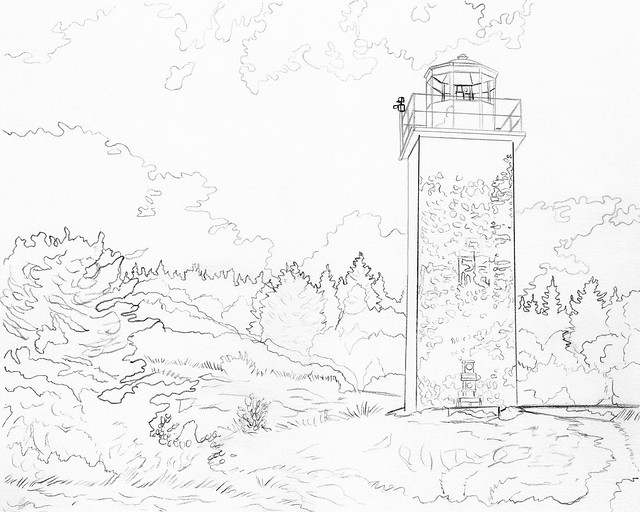 WS2107: Light House - Line Art