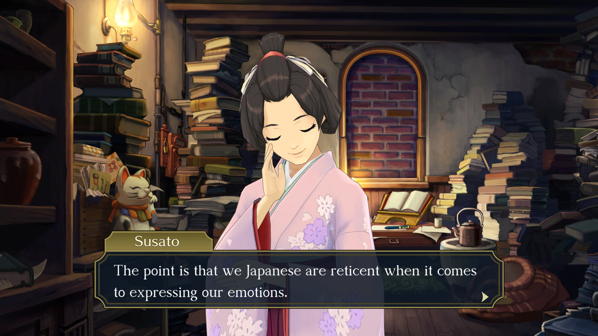 """The Great Ace Attorney Chronicles - Susato says: """"The point is that we Japanese are reticent when it comes to expressing our emotions."""""""