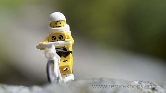 Lego Crash Test Dummy on a Bike