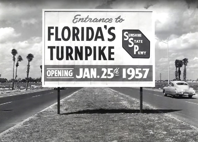While spending a week in Florida, I also brought a miniature version of my time machine. (It was difficult to explain to TSA agents at the airport!)  I set the dials to November 1956 and got this shot of the sign for the brand new Sunshine State Parkway.