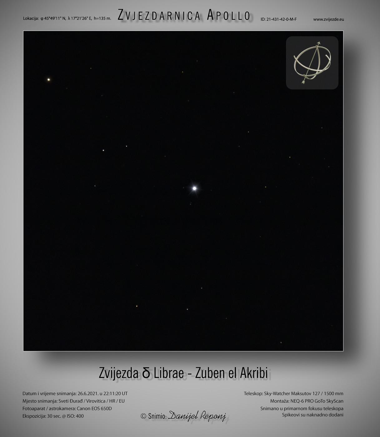 Zvijezda δ Librae - Zuben el Akribi, 26.6.2021.