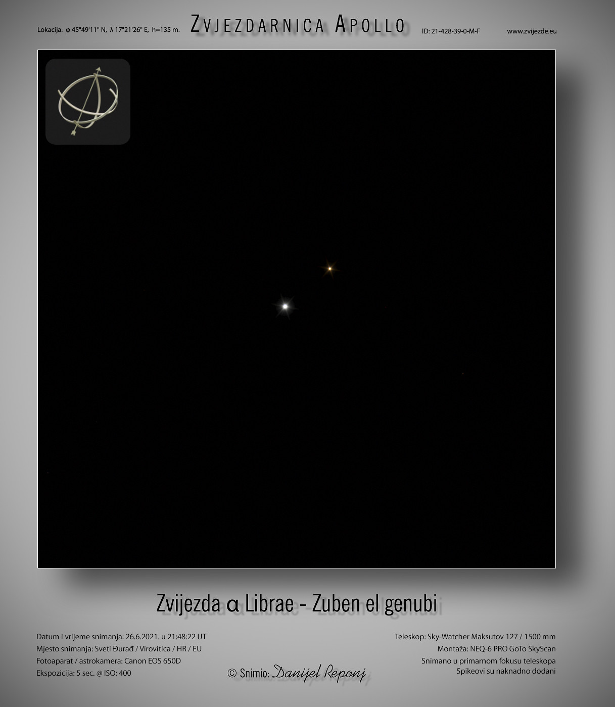 Zvijezda α Librae - Zuben el genubi, 26.6.2021.