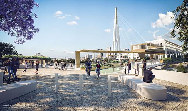 Kangaroo Point Green Bridge - Artist impressions