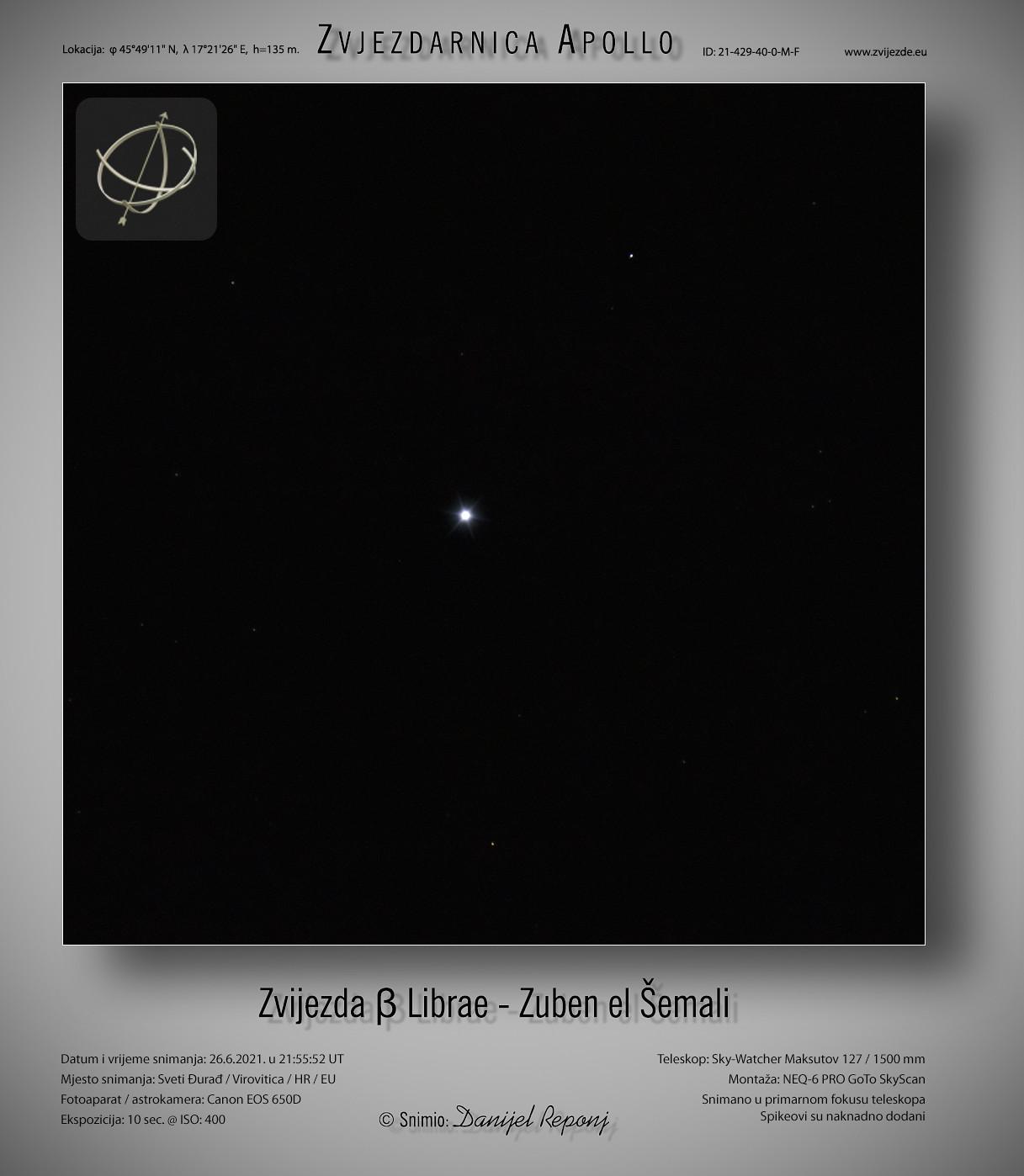 Zvijezda β Librae - Zuben el Šemali, 26.6.2021.