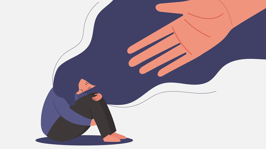 A graphic of a hand reaching out to a victim