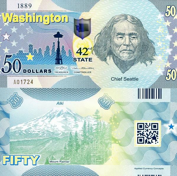 USA 50 Dollars 2015 42. štát - Washington polymer