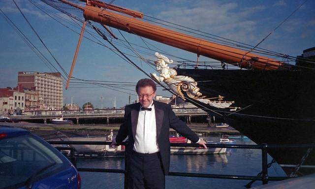 Philip beside HMS Warrior, 15th June 2004