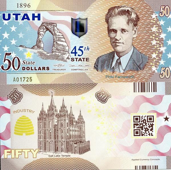 USA 50 Dollars 2015 45. štát - Utah polymer