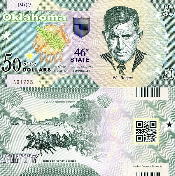 USA 50 Dollars 2015 46. štát - Oklahoma polymer