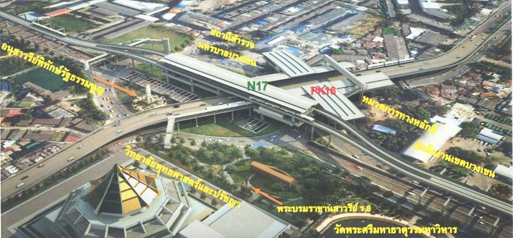 แบบจำลองรูปแบบสถานีรถไฟฟ้า สถานีวัดพระศรีมหาธาตุ จากรายงานเมื่อเดือน ส.ค. 2556 โดย รฟม.