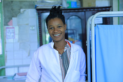 Hiruth Kache, an experienced midwife, smiles after assisting the delivery of a baby girl Amna Andinet
