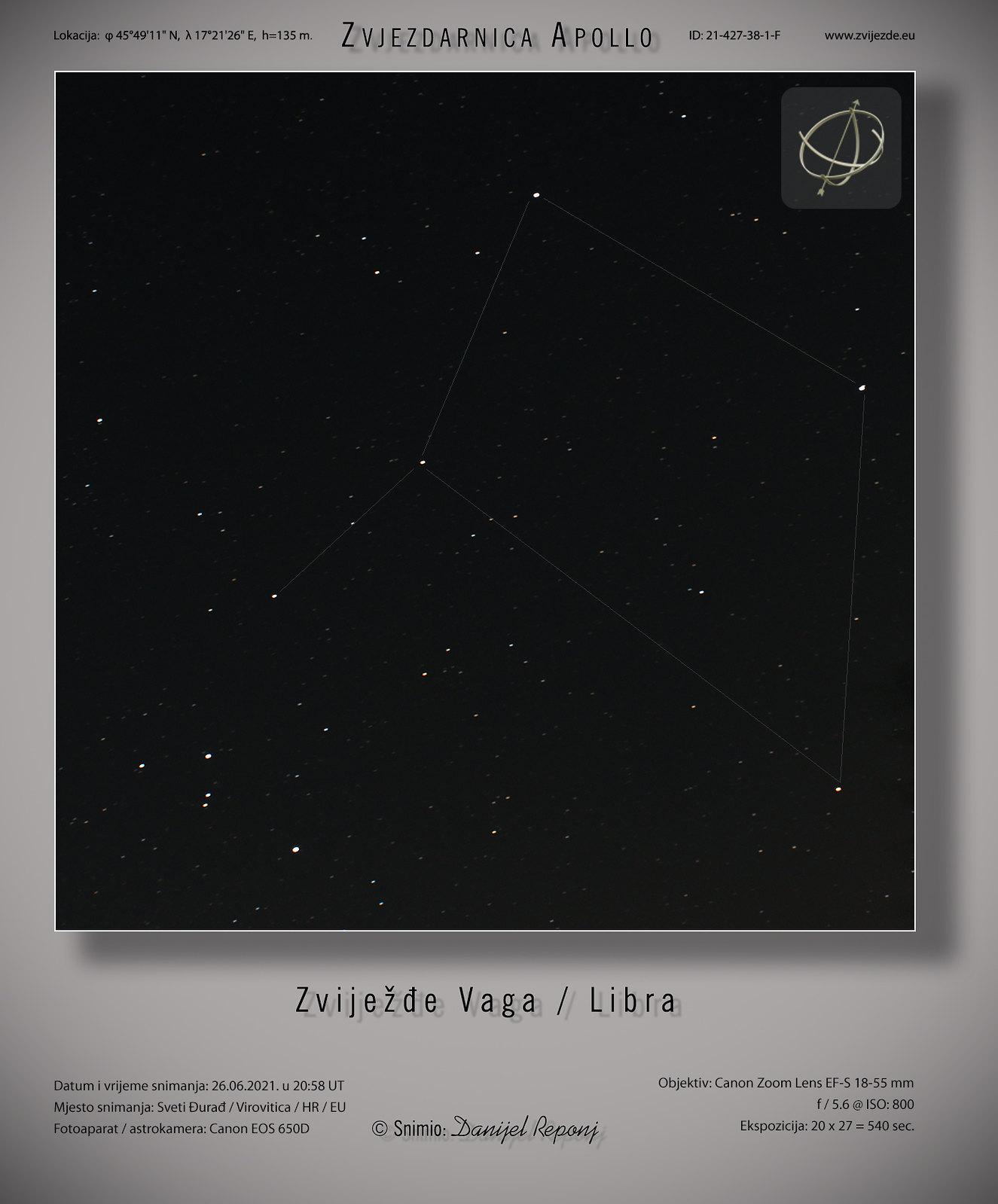 Zviježđe Vaga, 26.6.2021.