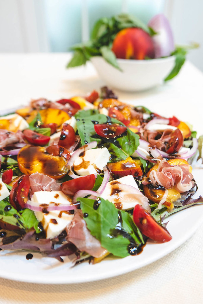 Finally, the Balsamic Glaze and Olive Oil are added to the Salad.