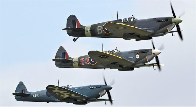 RAF Supermarine Spitfire MkIXB G-ASJV MH434 ZD-B, RAF Supermarine Spitfire HFVIII  G-BKMI MT928 ZX- & RAF Supermarine Spitfire G-PRXI PL983