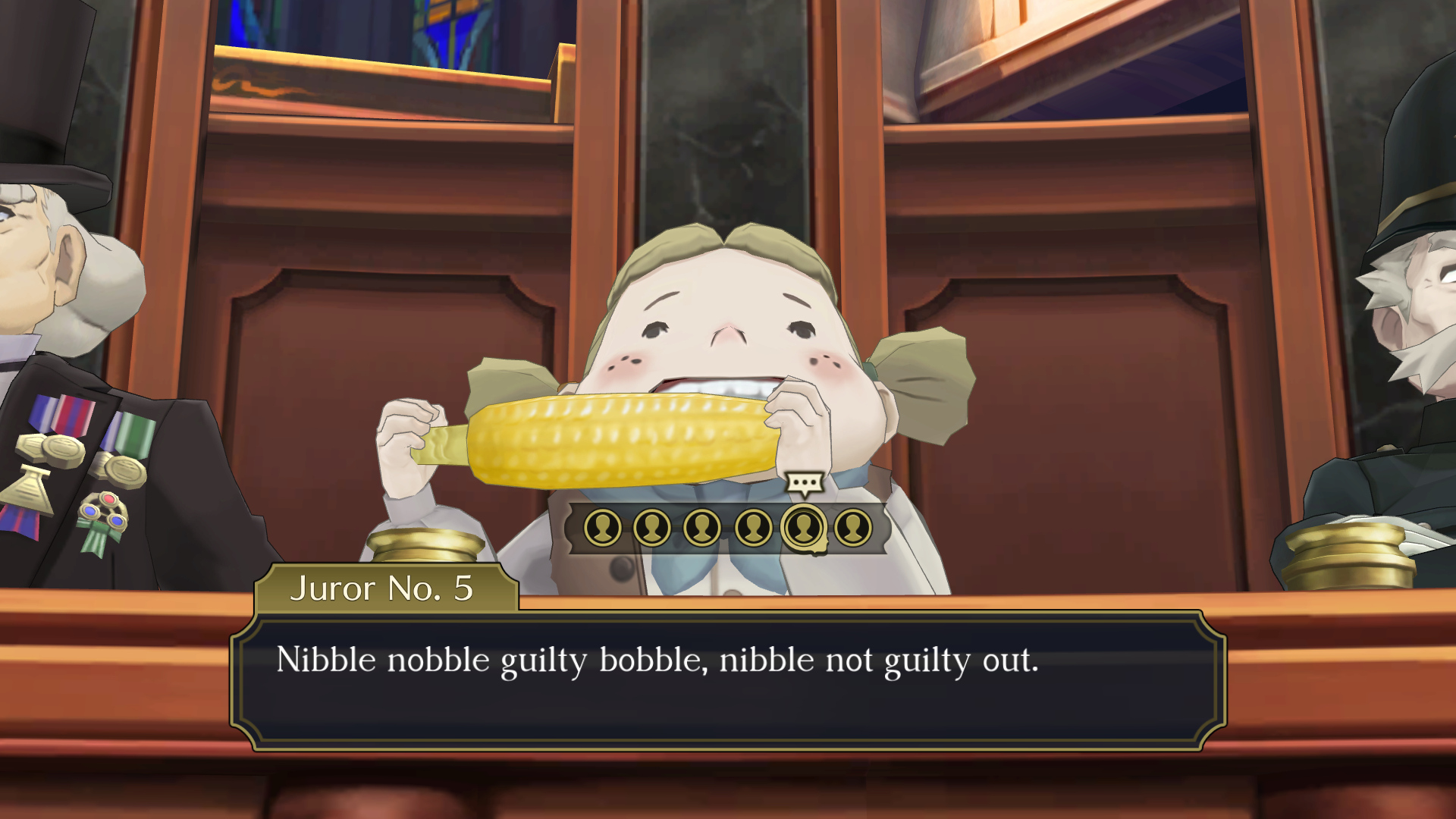 """The Great Ace Attorney Chronicles - Juror Number 5 says, while eating corn-on-the-cob: """"Nibble nobble guilty bobble, nibble not guilty out."""""""
