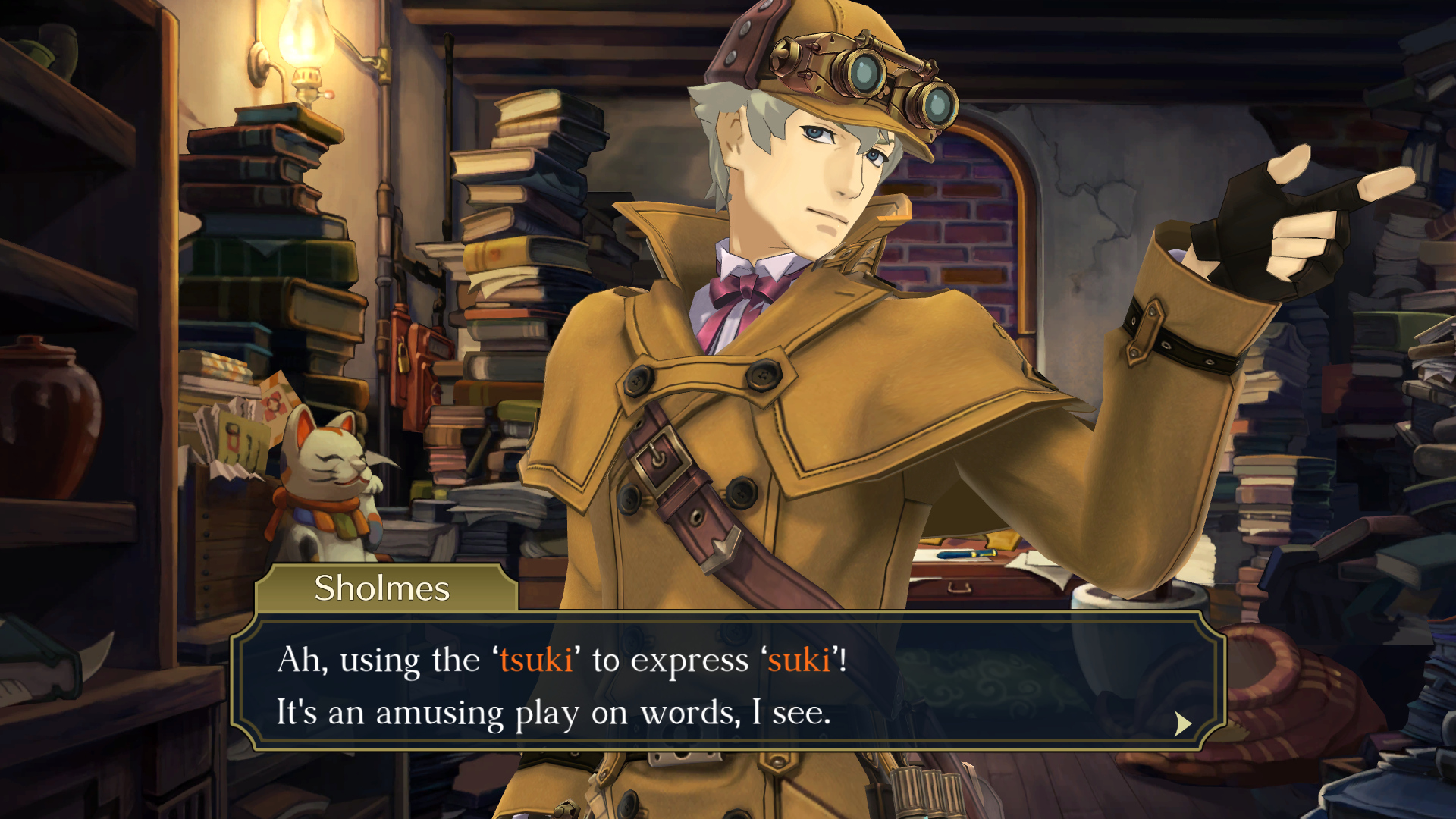 """The Great Ace Attorney Chronicles - Sholmes says: """"Ah, using the  'tsuki' to express 'suki'! It's an amusing play on words, I see."""""""