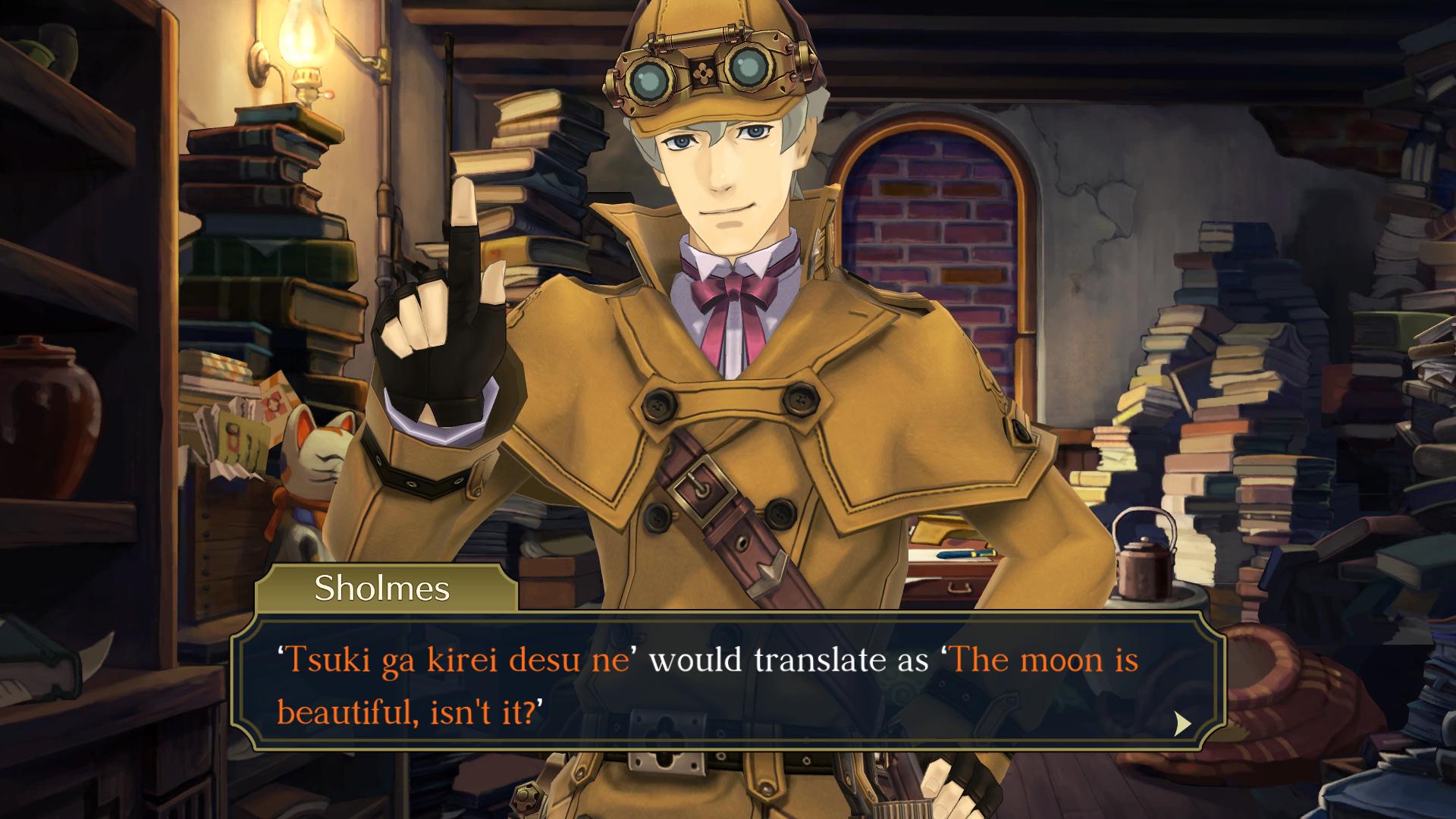 "The Great Ace Attorney Chronicles - Sholmes says: ""'Tsuki ga kirei desu ne' would translate as 'The moon is beautiful, isn't it?'"""