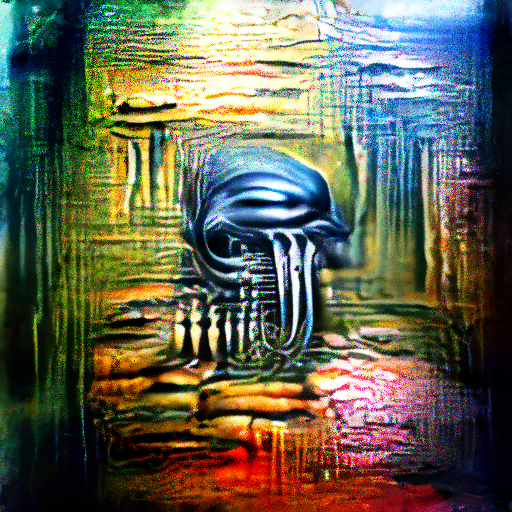'H R Giger' OpenAI DVAE+CLIP Text-to-Image