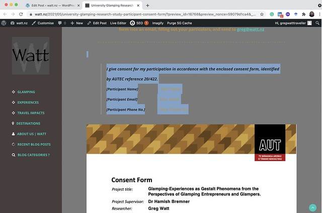 Go to wording just above the consent form and copy both the wording and the consent form